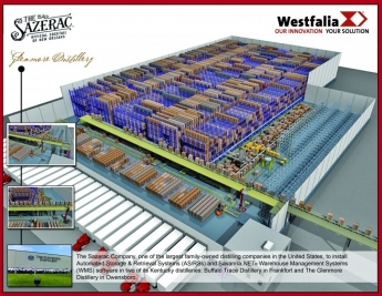 Sazerac Glenmore Distillery ASRS illustration by Westfalia Technologies